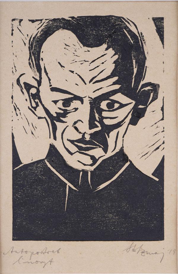 Autoportret III, 1919Linoryt, papier; 15,2 x 20,3 cm