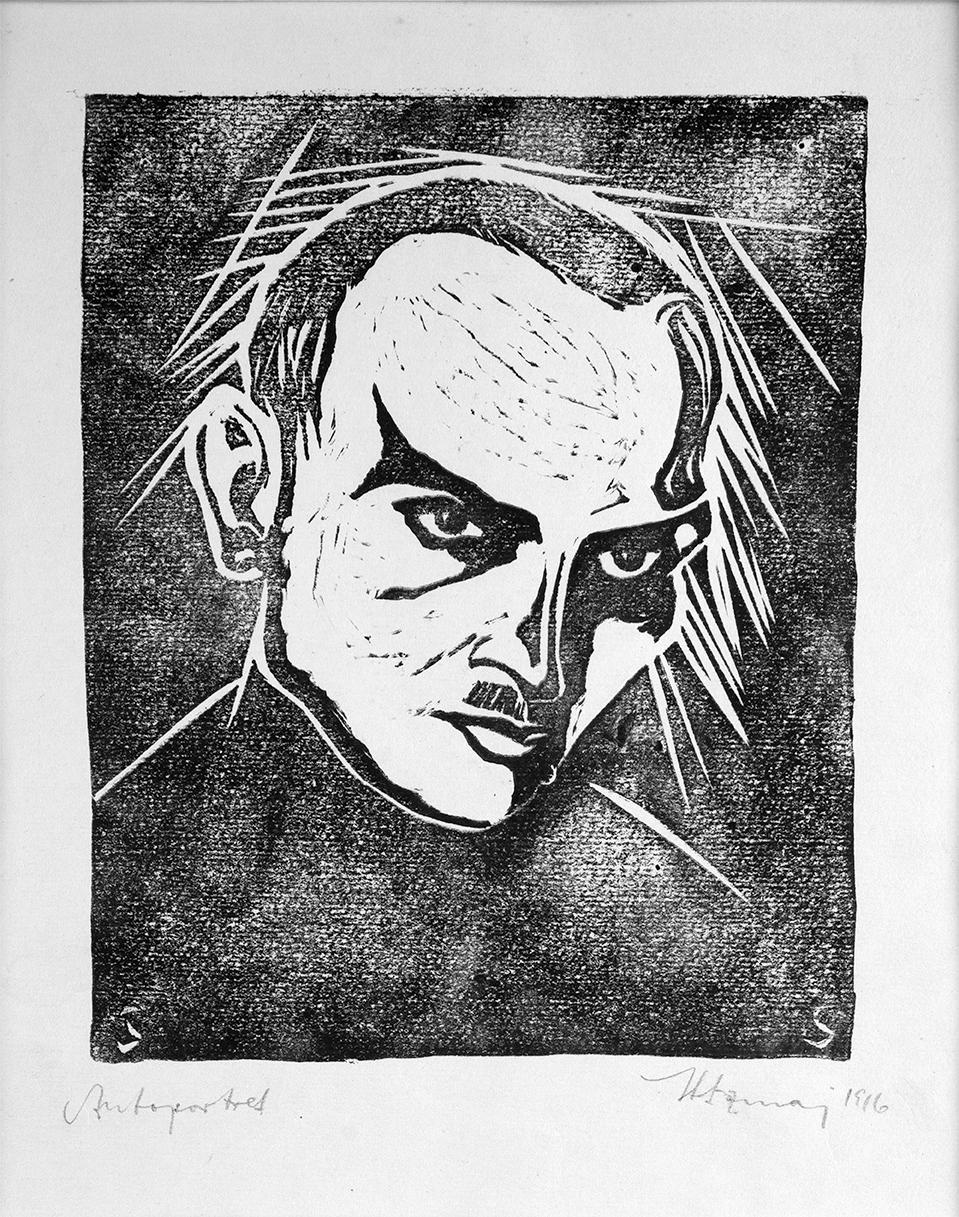 Autoportret, 1916Linoryt, papier; 16,9 x 13,8 cm