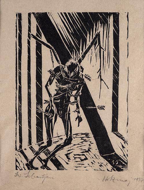 Święty Sebastian 1917Linoryt, papier; 18,5 x 13,3 cm