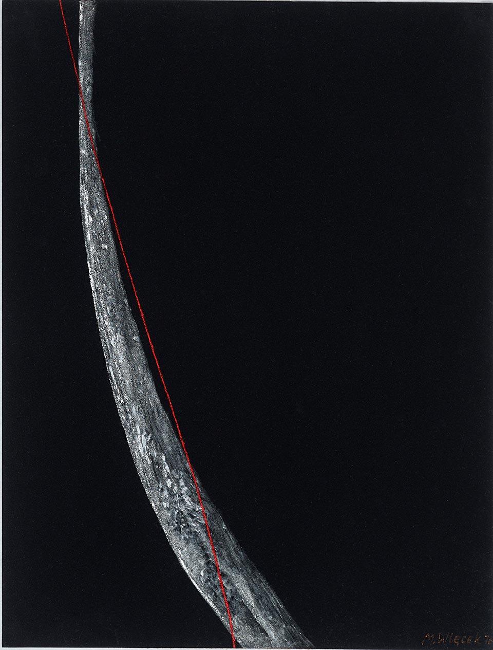Bez tytułu, 1976, akryl na papierze welurowym, 65.5 x 50.5 cm