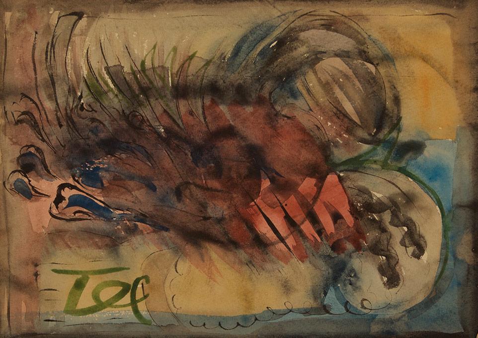 1956tusz, akwarela, tempera na papierze, 29.5 x 42,5 cm