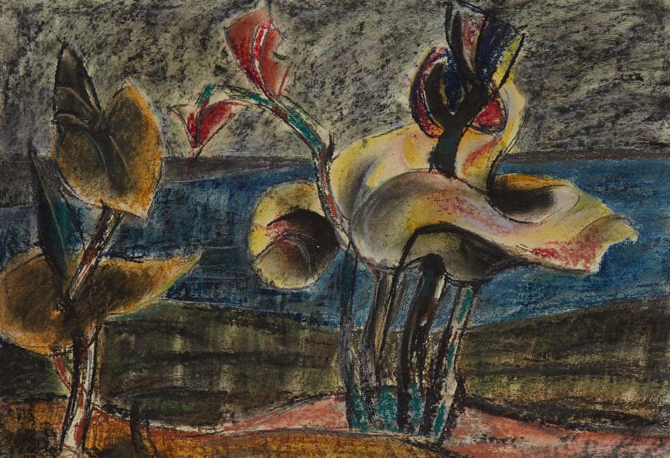 1956tusz, akwarela, kredka na papierze, 29,5 x 42 cm