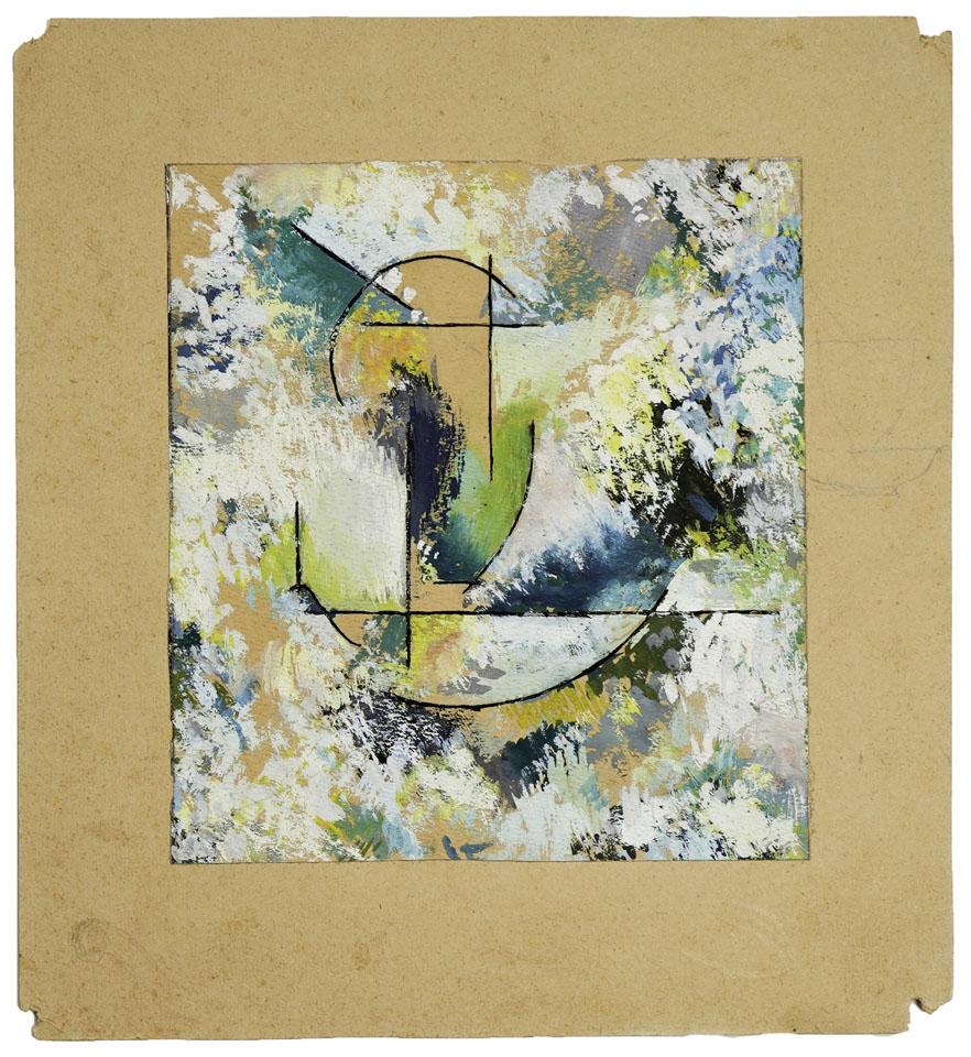 Kompozycja [kubistyczna] 1937gwasz na papierze, 15.3 cm × 14 cm