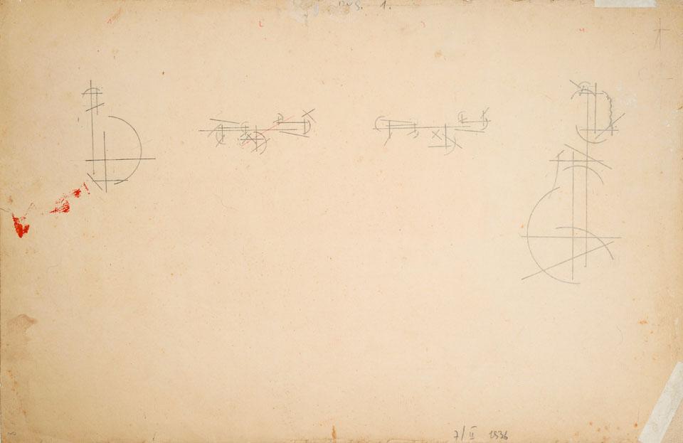 Studia abstrakcyjne 7/III (front) 1936ołówek na papierze, 44 cm × 29 cm